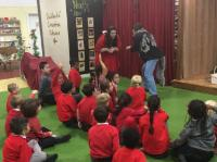 Y1 trip to The Rainbow Factory finding out about Traditional Tales